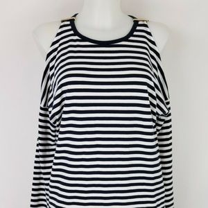 Michael Kors Navy Striped Cold Shoulder Size XS